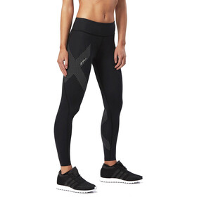 2XU Mid-Rise Compression Pantaloni Donna, black/dotted reflective logo